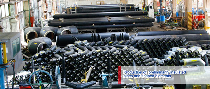 Production of pipes, elements, and equipment for the construction of efficient heat supply, water supply, and water drainage systems